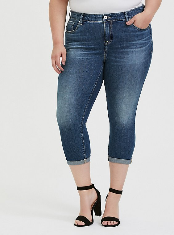 Crop Mid Rise Skinny Jean - Vintage Stretch Medium Wash, , hi-res