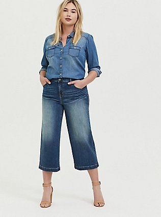Crop High Rise Wide Leg Jean - Vintage Stretch Medium Wash, FIVE AND DIME, alternate