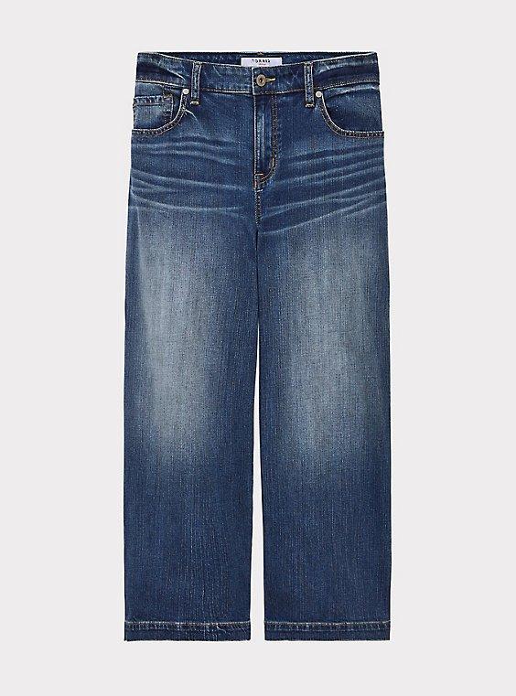 Crop High Rise Wide Leg Jean - Vintage Stretch Medium Wash, , flat