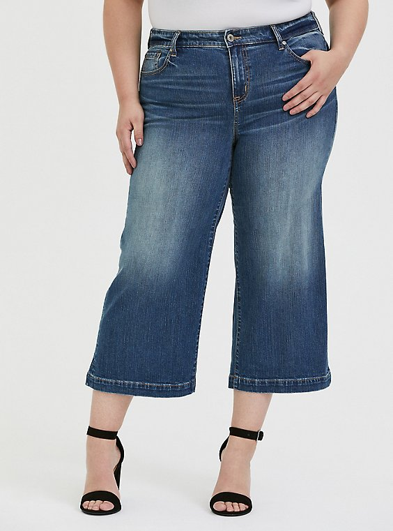 Plus Size Crop High Rise Wide Leg Jean - Vintage Stretch Medium Wash, , hi-res