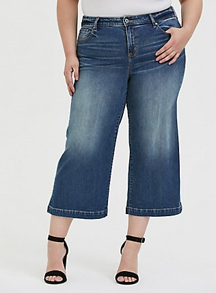Crop High Rise Wide Leg Jean - Vintage Stretch Medium Wash, FIVE AND DIME, hi-res