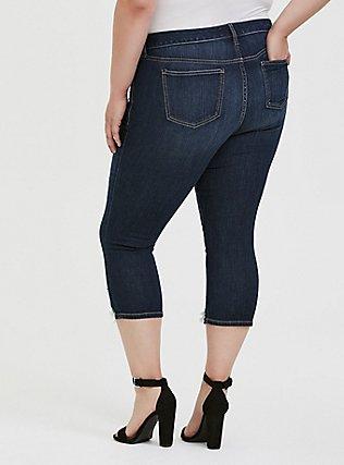 Crop Mid Rise Skinny Jean - Vintage Stretch Dark Wash with Deconstructed Hem, TROUBADOUR, alternate