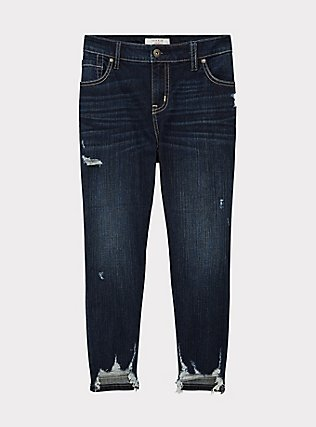 Crop Mid Rise Skinny Jean - Vintage Stretch Dark Wash with Deconstructed Hem, TROUBADOUR, flat