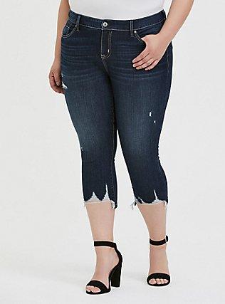Crop Mid Rise Skinny Jean - Vintage Stretch Dark Wash with Deconstructed Hem, TROUBADOUR, hi-res