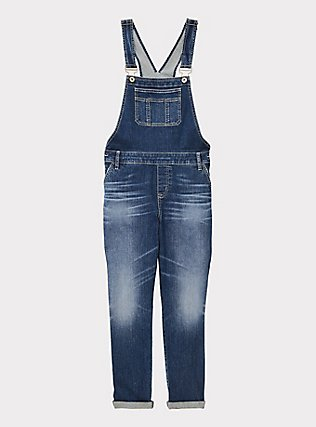 Crop Overall - Vintage Stretch Medium Wash, SHELBY 68, flat