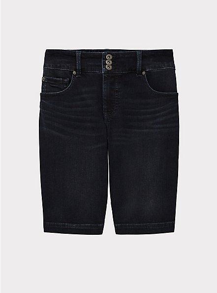 Plus Size Jegging Bermuda Short - Premium Stretch Dark Wash, EAST END, hi-res