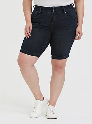 Plus Size Jegging Bermuda Short - Premium Stretch Dark Wash, EAST END, hi-res