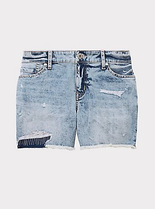 Plus Size Mid Short - Vintage Stretch Light Wash, HIGH KEY, flat