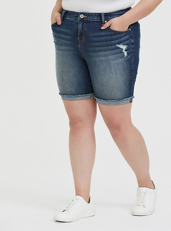 Plus Size High Rise Bermuda Short - Vintage Stretch Dark Wash, , hi-res