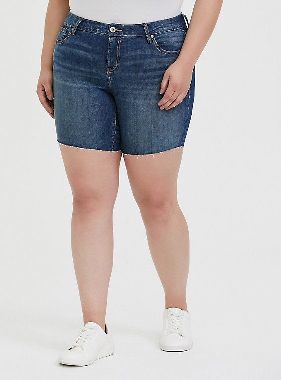 Mid Rise Bermuda Short - Vintage Stretch Dark Wash, , hi-res