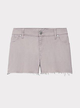 Denim Short Short - Vintage Stretch Lilac, CLOUD GREY, flat