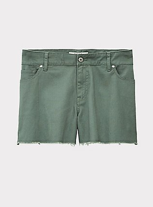 Denim Short Short - Vintage Stretch Light Olive Green, AGAVE GREEN, flat