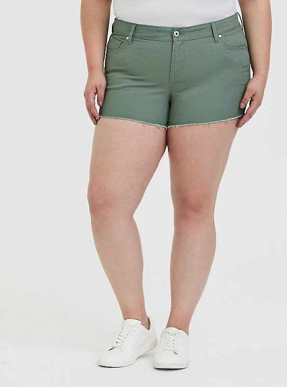 Denim Short Short - Vintage Stretch Light Olive Green, AGAVE GREEN, hi-res