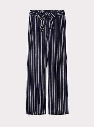 Navy Pinstripe Challis Self Tie Wide Leg Pant, STRIPES, flat