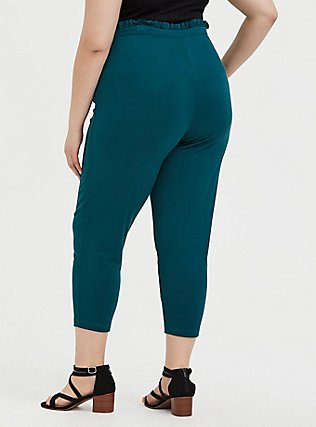 Dark Teal Ponte Drawstring Paperbag Pant, BLUE, alternate
