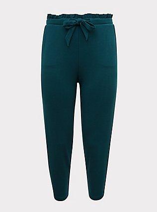 Plus Size Dark Teal Ponte Drawstring Paperbag Pant, BLUE, flat