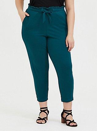 Plus Size Dark Teal Ponte Drawstring Paperbag Pant, BLUE, hi-res