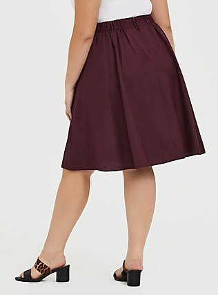 Burgundy Purple Twill Midi Swing Skirt, WINETASTING, alternate