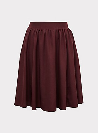 Burgundy Purple Twill Midi Swing Skirt, WINETASTING, flat