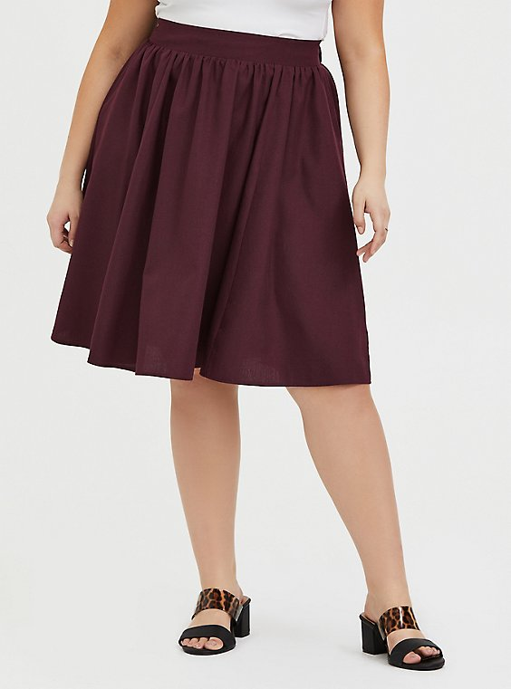 Burgundy Purple Twill Midi Swing Skirt, , hi-res