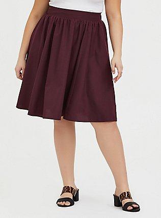 Burgundy Purple Twill Midi Swing Skirt, WINETASTING, hi-res