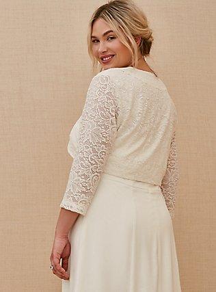White Lace Open Front Shrug, CLOUD DANCER, alternate