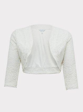 White Lace Open Front Shrug, CLOUD DANCER, flat
