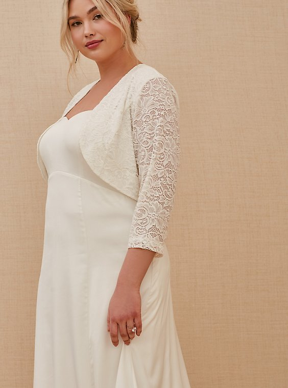 Plus Size White Lace Open Front Shrug, , hi-res