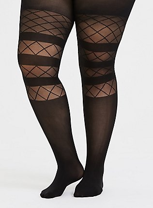 Plus Size Black Microfiber Stripe & Mesh Diamond Tights, BLACK, hi-res
