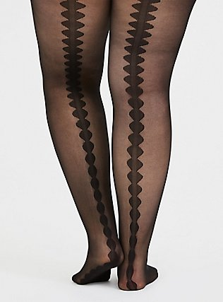 Plus Size Black Scalloped Back Seam Semi-Opaque Tights , BLACK, alternate