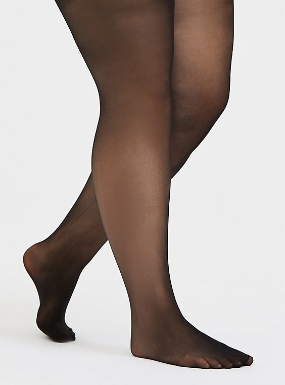 Plus Size Black Scalloped Back Seam Semi-Opaque Tights , , hi-res