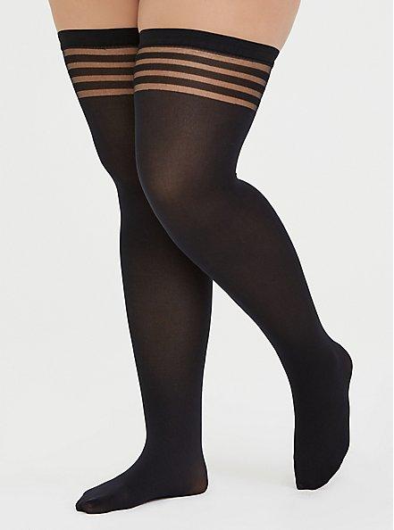 Black Shadow Stripe Thigh-High Tights , BLACK, hi-res
