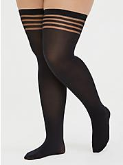 Plus Size Black Shadow Stripe Thigh-High Tights , BLACK, hi-res
