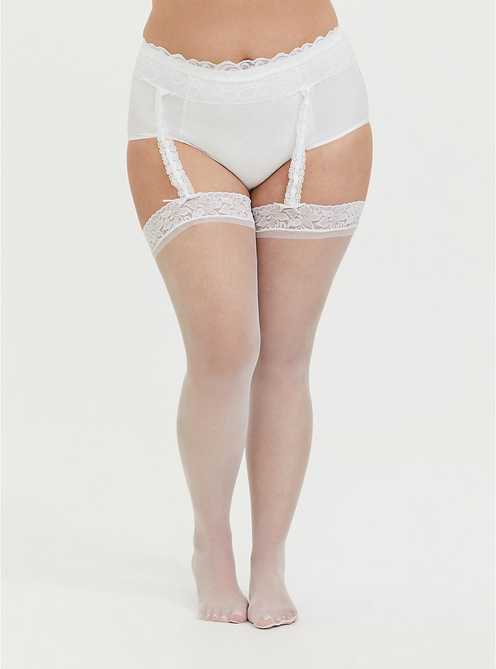 White Lace Faux Garter Bridal Tights, WHITE, hi-res