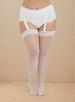 Plus Size White Lace Faux Garter Bridal Tights, WHITE, pdped