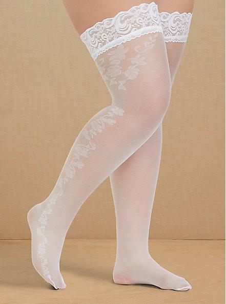 White Lace Trim Thigh High , WHITE, hi-res