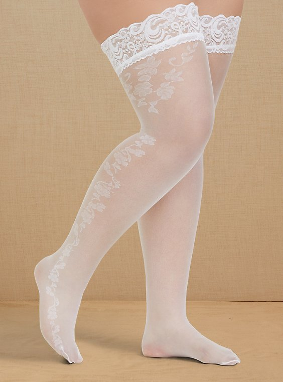 Plus Size White Lace Trim Thigh High , , hi-res