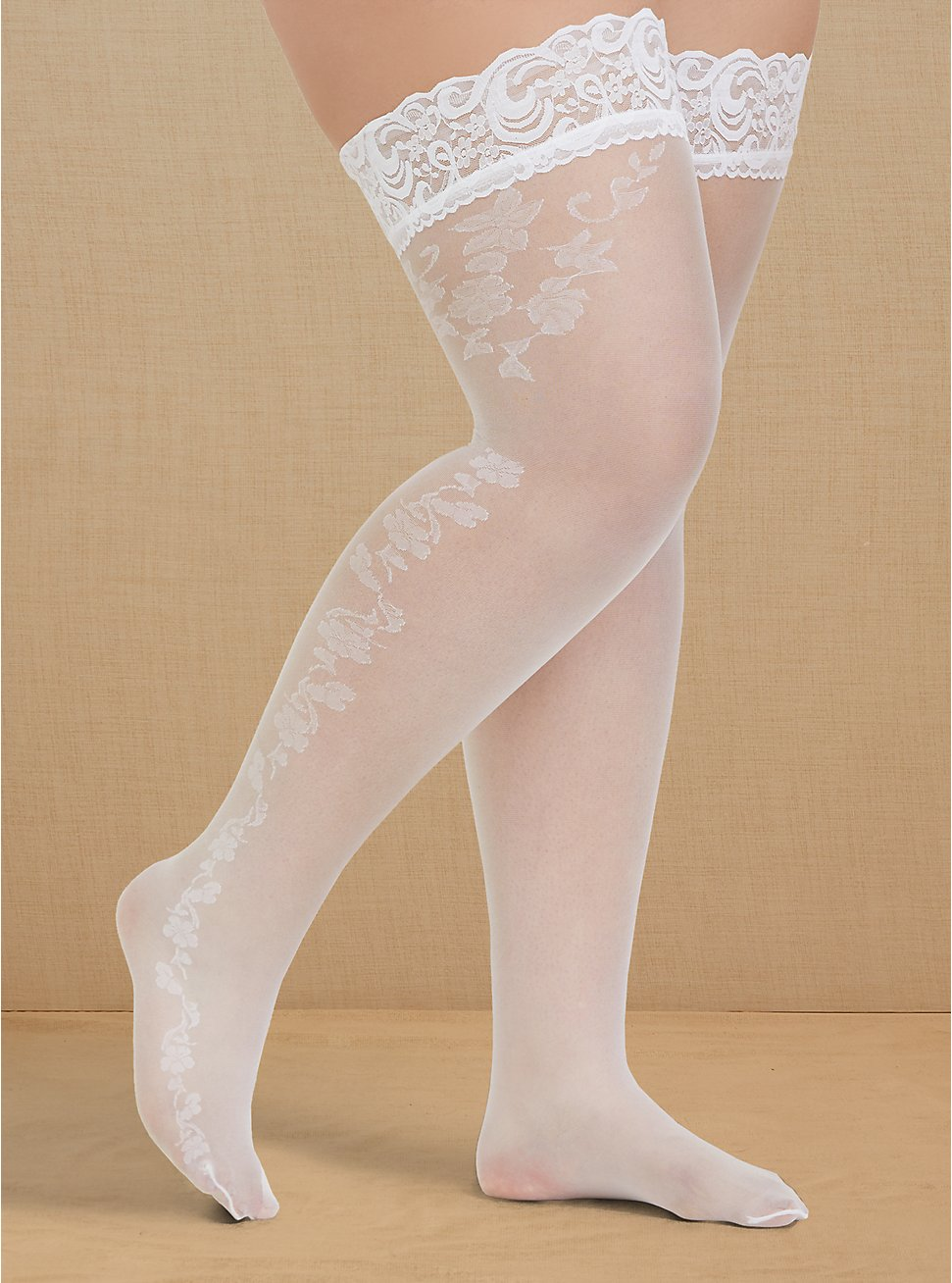 Plus Size White Lace Trim Thigh High , WHITE, hi-res