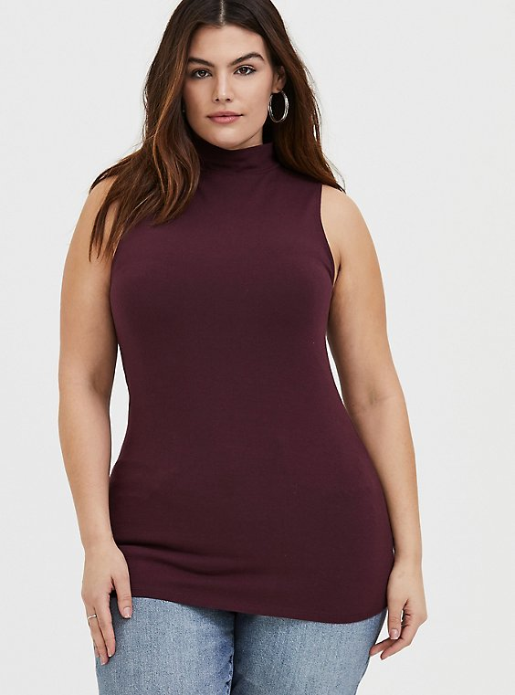 Burgundy Purple Mock Neck Foxy Tank , , hi-res