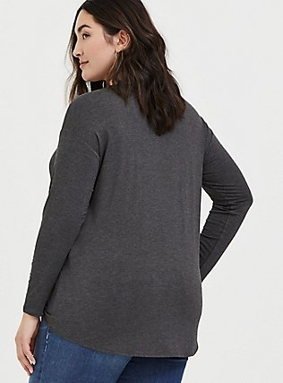 Plus Size Super Soft Charcoal Grey Tie-Front Long Sleeve Tee, CHARCOAL HEATHER, alternate