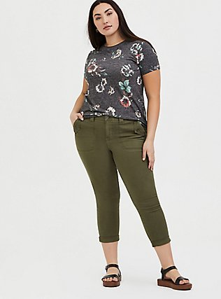 Plus Size Classic Fit Crew Tee - Vintage Burnout Floral Black, FLORAL - BLACK, alternate
