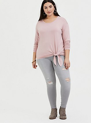 Super Soft Blush Pink Tie Front Long Sleeve Tee, MAUVE SHADOWS, alternate