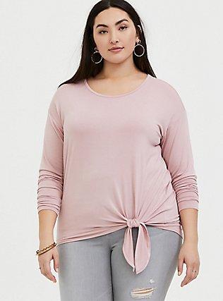 Super Soft Blush Pink Tie Front Long Sleeve Tee, MAUVE SHADOWS, hi-res