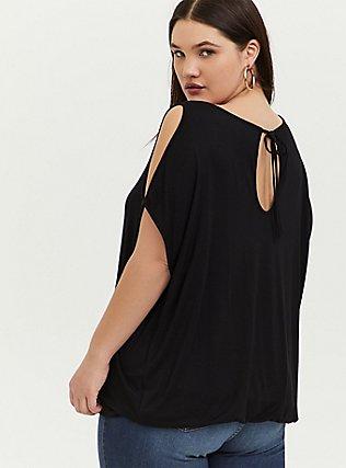 Super Soft Black Cold Shoulder Top, DEEP BLACK, alternate