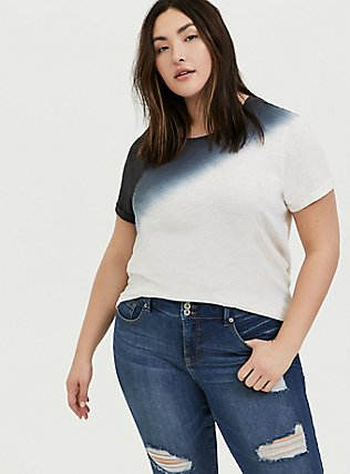 Plus Size Relaxed Fit Crew Tee - Heritage Slub Dip-Dye Black & White, CLOUD DANCER, hi-res