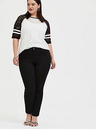 Black & White Lace Football Tee , WHITE, alternate