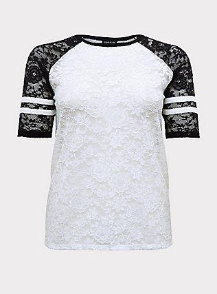 Black & White Lace Football Tee , WHITE, flat
