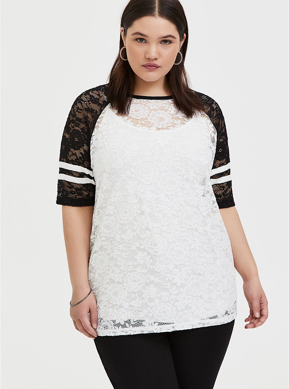 Black & White Lace Football Tee , WHITE, hi-res