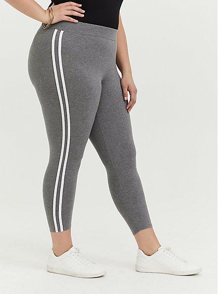 Crop Premium Legging - Side Stripe Heather Grey, DOUBLE STRIPE, alternate