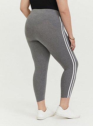 Crop Premium Legging - Side Stripe Heathered Grey, DOUBLE STRIPE, alternate